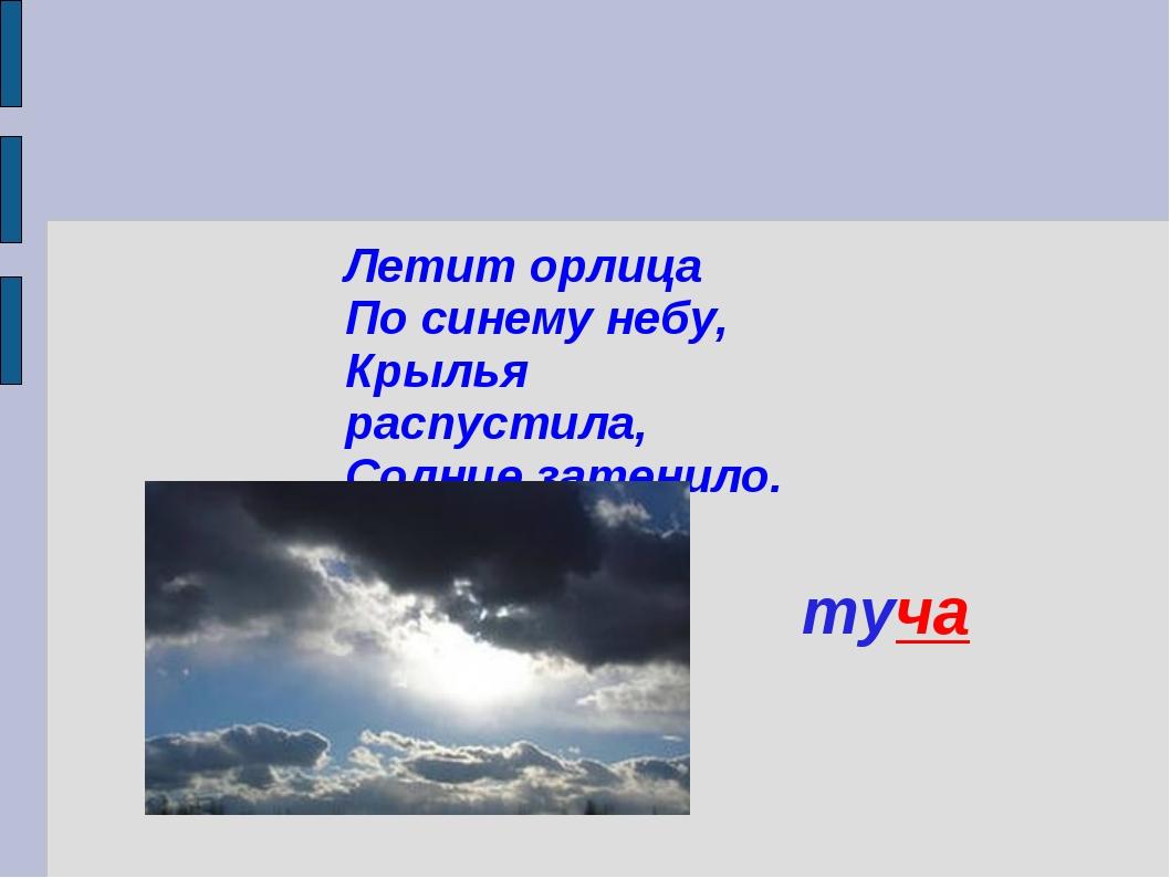 Летит орлица По синему небу, Крылья распустила, Солнце затенило. туча