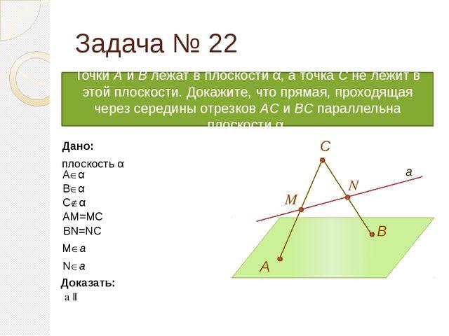 A α M N B C Дано: плоскость α Aα Bα Cα AM=MC BN=NC a Ma Na Задача № 22...