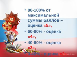 80-100% от максимальной суммы баллов – оценка «5», 60-80% - оценка «4», 40-60