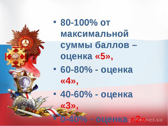 80-100% от максимальной суммы баллов – оценка «5», 60-80% - оценка «4», 40-60...