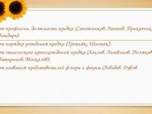 от профессии, должности предка (Сапожников, Лаптев, Приказчиков, Бондарь); о