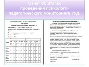 Отчет об итогах проведения психолого-педагогического мониторинга УУД.
