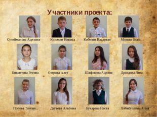Участники проекта: Сулейманова Аделина Кузьмин Никита Кобелян Вардеван Мзикян