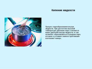 Кипение жидкости Процесс парообразования внутри жидкости. При достаточно высо