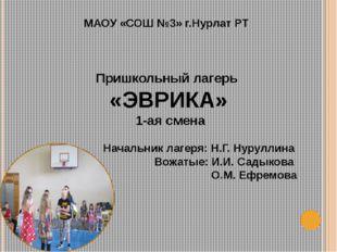 МАОУ «СОШ №3» г.Нурлат РТ Пришкольный лагерь «ЭВРИКА» 1-ая смена Начальник ла