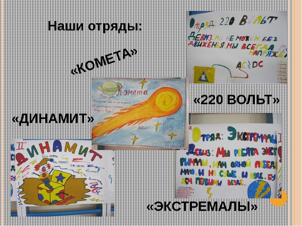 Наши отряды: «КОМЕТА» «220 ВОЛЬТ» «ДИНАМИТ» «ЭКСТРЕМАЛЫ»
