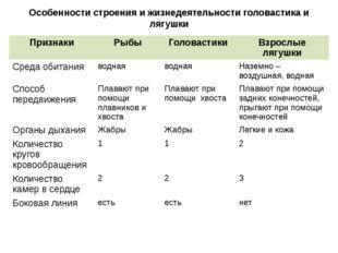 Особенности строения и жизнедеятельности головастика и лягушки Признаки Рыбы