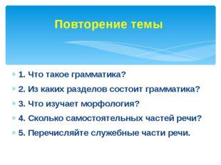 1. Что такое грамматика? 2. Из каких разделов состоит грамматика? 3. Что изу