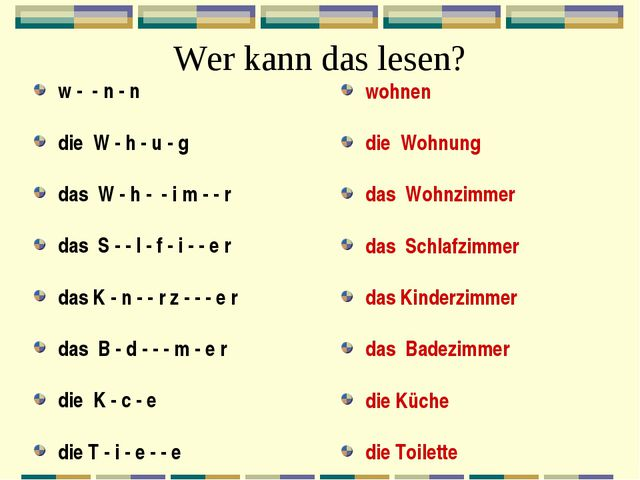 Wer kann das lesen? w - - n - n die W - h - u - g das W - h - - i m - - r das...