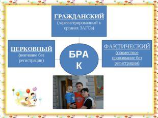 * БРАК ГРАЖДАНСКИЙ (зарегистрированный в органах ЗАГСа) ФАКТИЧЕСКИЙ (совмест