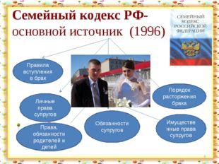 Семейный кодекс РФ- основной источник (1996) * Правила вступления в брак Личн