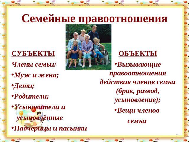 Семейные правоотношения СУБЪЕКТЫ Члены семьи: Муж и жена; Дети; Родители; Усы...