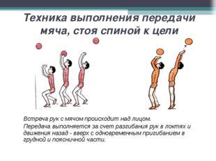 Техника выполнения передачи мяча, стоя спиной к цели Встреча рук с мячом про