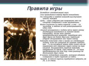 Правила игры Волейбол- коллективная игра. Она проводится между двумя командам
