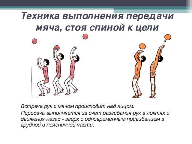 Техника выполнения передачи мяча, стоя спиной к цели Встреча рук с мячом про...