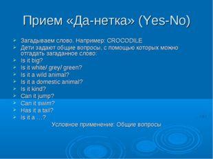 Прием «Да-нетка» (Yes-No) Загадываем слово. Например: CROCODILE Дети задают о