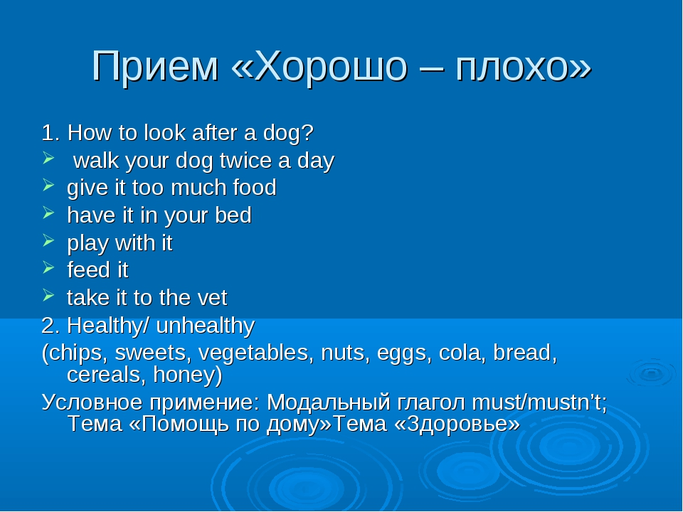 Прием «Хорошо – плохо» 1. How to look after a dog? walk your dog twice a day...