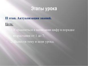 Этапы урока II этап. Актуализация знаний. Цель: 1)Упражняться в написании циф