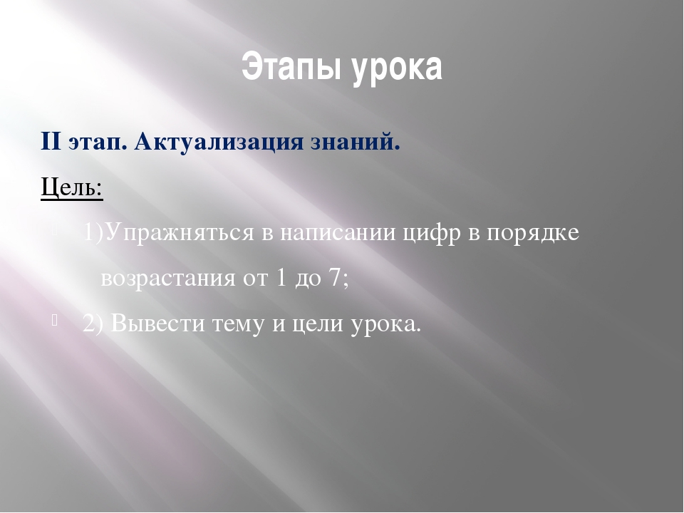 Этапы урока II этап. Актуализация знаний. Цель: 1)Упражняться в написании циф...