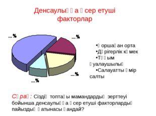 Денсаулыққа әсер етуші факторлар Қоршаған орта Дәрігерлік көмек Тұқым қуалауш