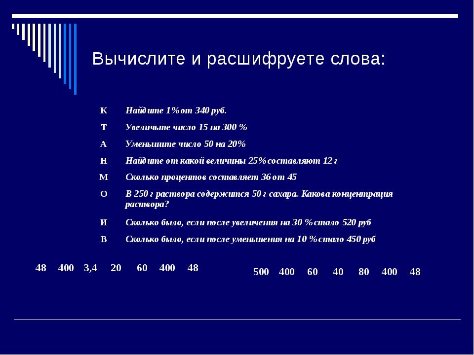 Вычислите и расшифруете слова: КНайдите 1% от 340 руб. ТУвеличьте число 15...