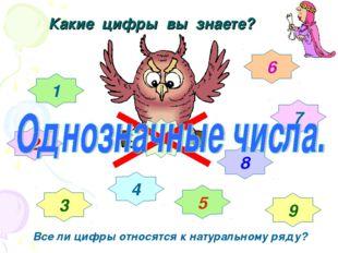 Какие цифры вы знаете? 1 2 3 4 5 6 7 8 9 0 Все ли цифры относятся к натуральн