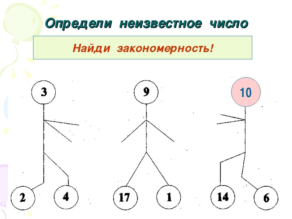 Определи неизвестное число Найди закономерность! 10