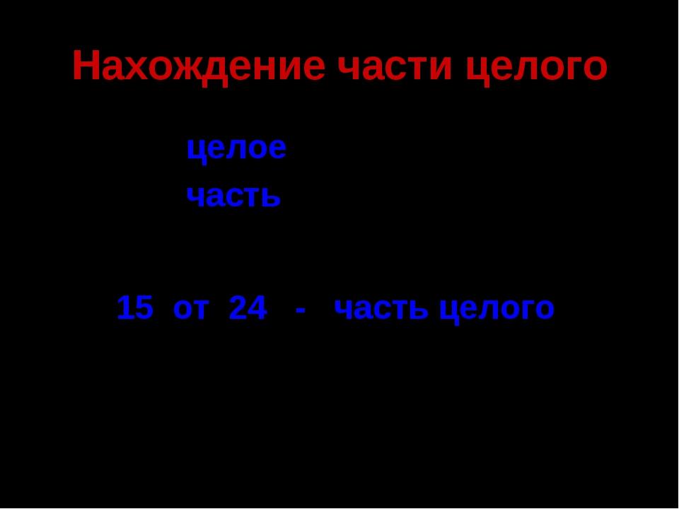 Нахождение части целого 24 - 15 - целое часть 15 от 24 - часть целого С. 219