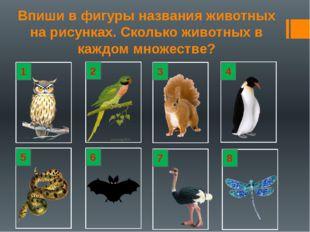 Впиши в фигуры названия животных на рисунках. Сколько животных в каждом множе