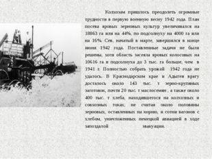 Колхозам пришлось преодолеть огромные трудности в первую военную весну 1942