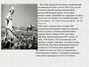 Высокий трудовой энтузиазм, проявленный колхозниками весной и летом 1943 год