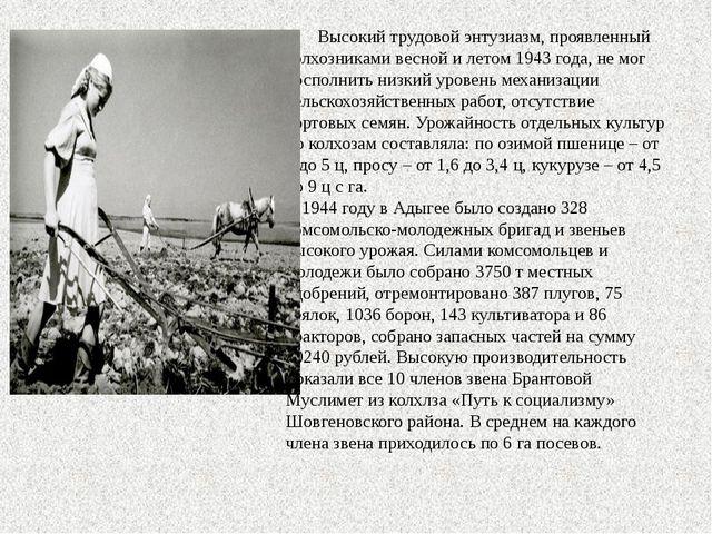 Высокий трудовой энтузиазм, проявленный колхозниками весной и летом 1943 год...