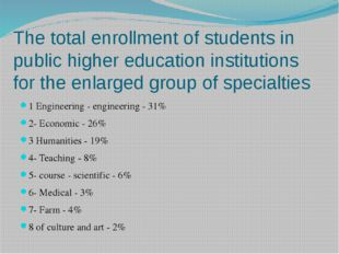 The total enrollment of students in public higher education institutions for