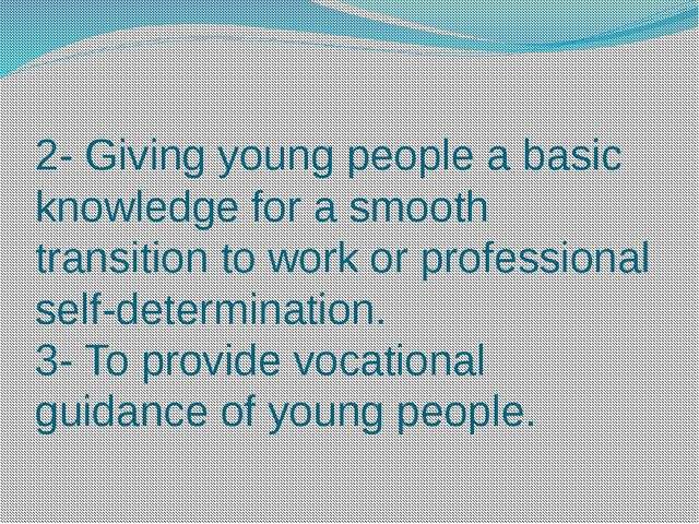 2- Giving young people a basic knowledge for a smooth transition to work or p...
