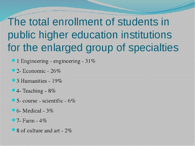 The total enrollment of students in public higher education institutions for...