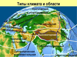 Типы климата и области Арктический Субарктический Ум.- морская Умеренно- конт