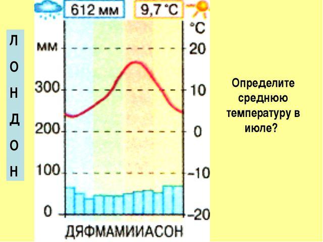 Л О Н Д О Н Определите среднюю температуру в июле?