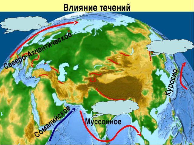 Влияние течений Северо-Атлантическое Куросио Сомалийское Муссонное