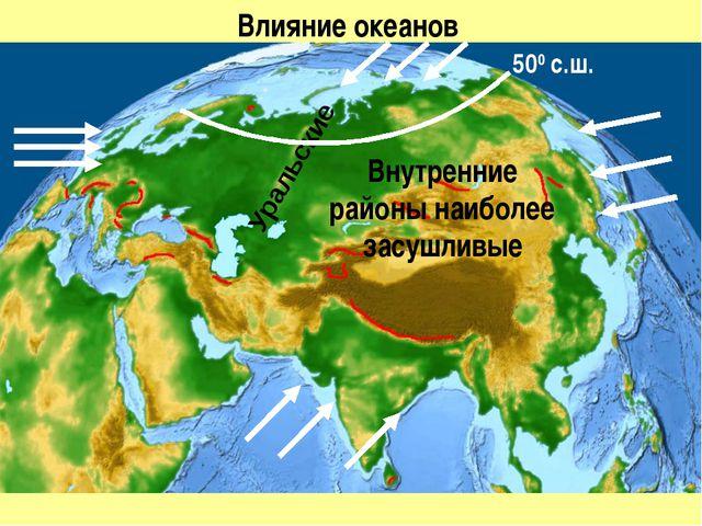 Влияние океанов Внутренние районы наиболее засушливые Уральские 500 с.ш.
