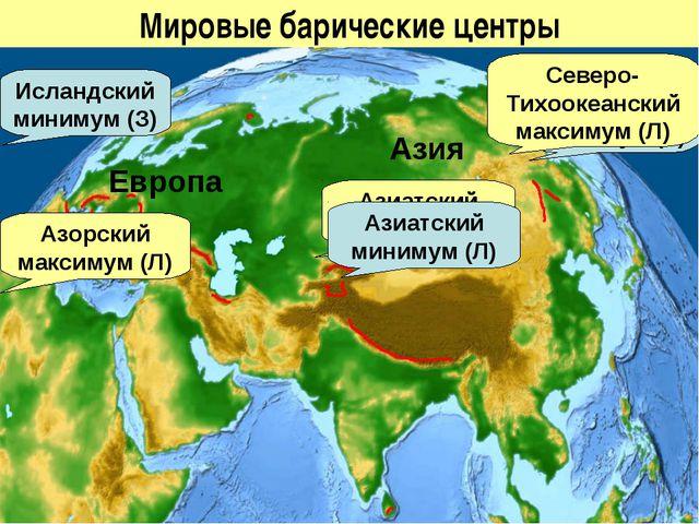 Мировые барические центры Исландский минимум (З) Алеутский минимум (З) Северо...