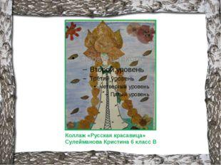Коллаж «Русская красавица» Сулейманова Кристина 6 класс В