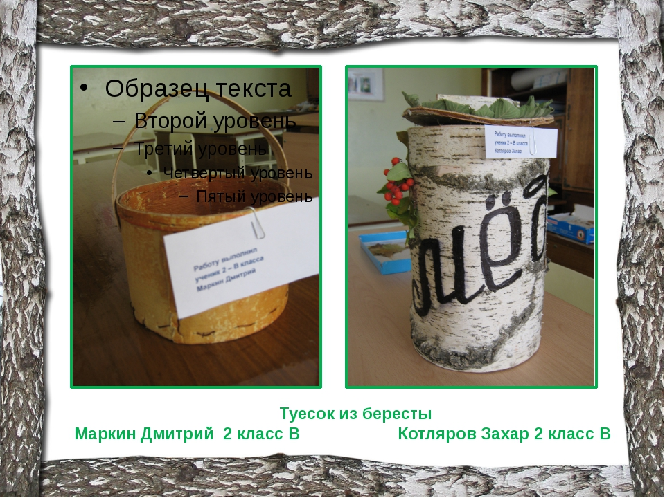 Туесок из бересты Маркин Дмитрий 2 класс В Котляров Захар 2 класс В