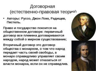 Договорная (естественно-правовая теория) Авторы: Руссо, Джон Локк, Радищев, П