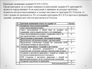 Критерии оценивания заданий С9 (С9.1-С9.6) Среди критериев, по которым оценив