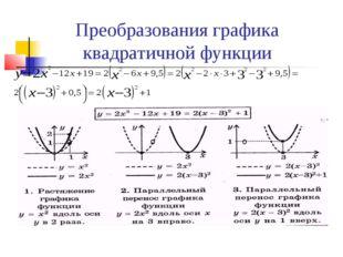 Преобразования графика квадратичной функции о о о =