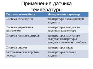 Применение датчика температуры Система автомобиляИзмеряемый параметр Система