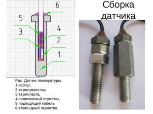 Сборка датчика Рис. Датчик температуры. 1-корпус, 2-терморезистор, 3-термопас