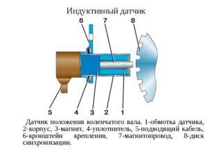 Индуктивный датчик Датчик положения коленчатого вала. 1-обмотка датчика, 2-ко