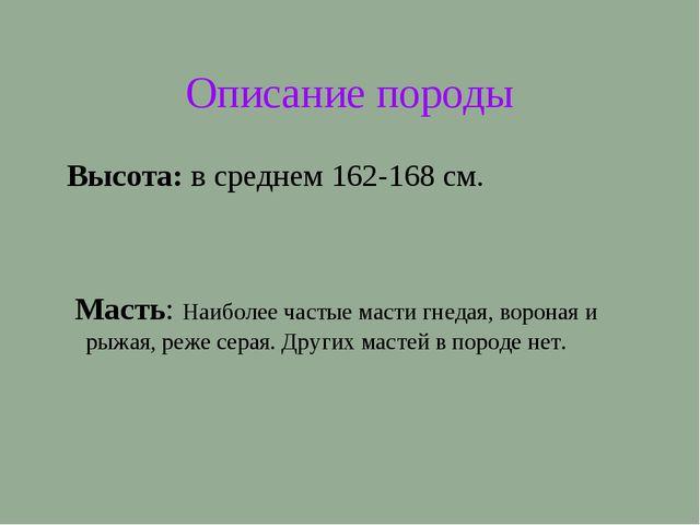 Описание породы Высота: в среднем 162-168 см.  Масть: Наиболее частые масти...