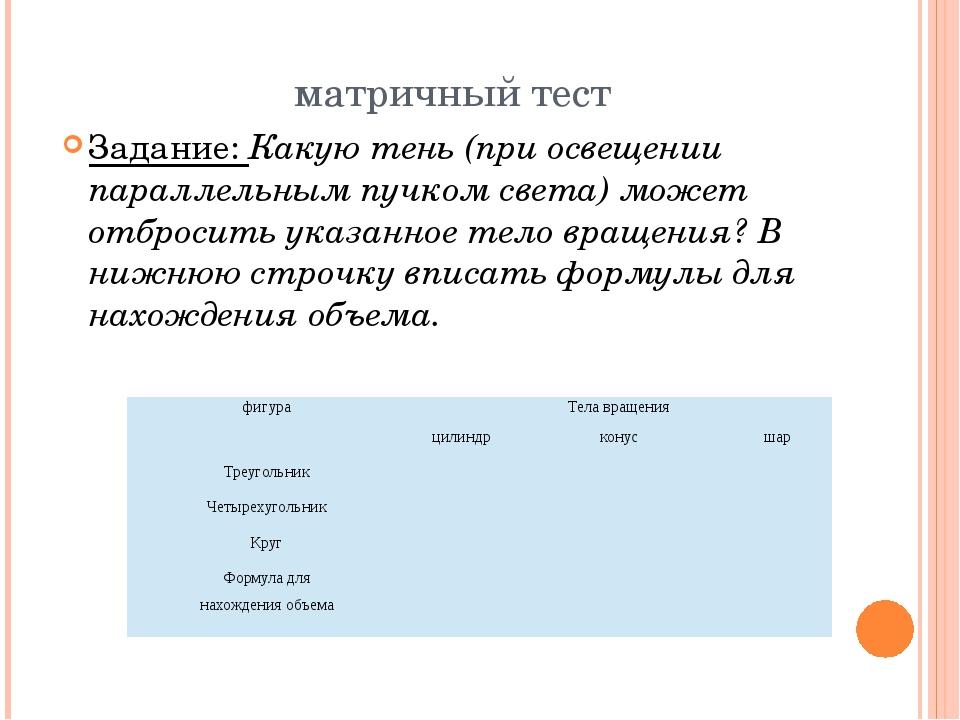 матричный тест Задание: Какую тень (при освещении параллельным пучком света)...